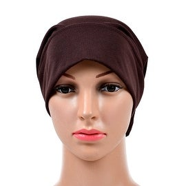 Muslim Scarf Kerchief Hat Solid Color coffee