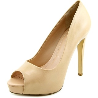 Charles By Charles David Fox Women Peep-Toe Leather Nude Heels