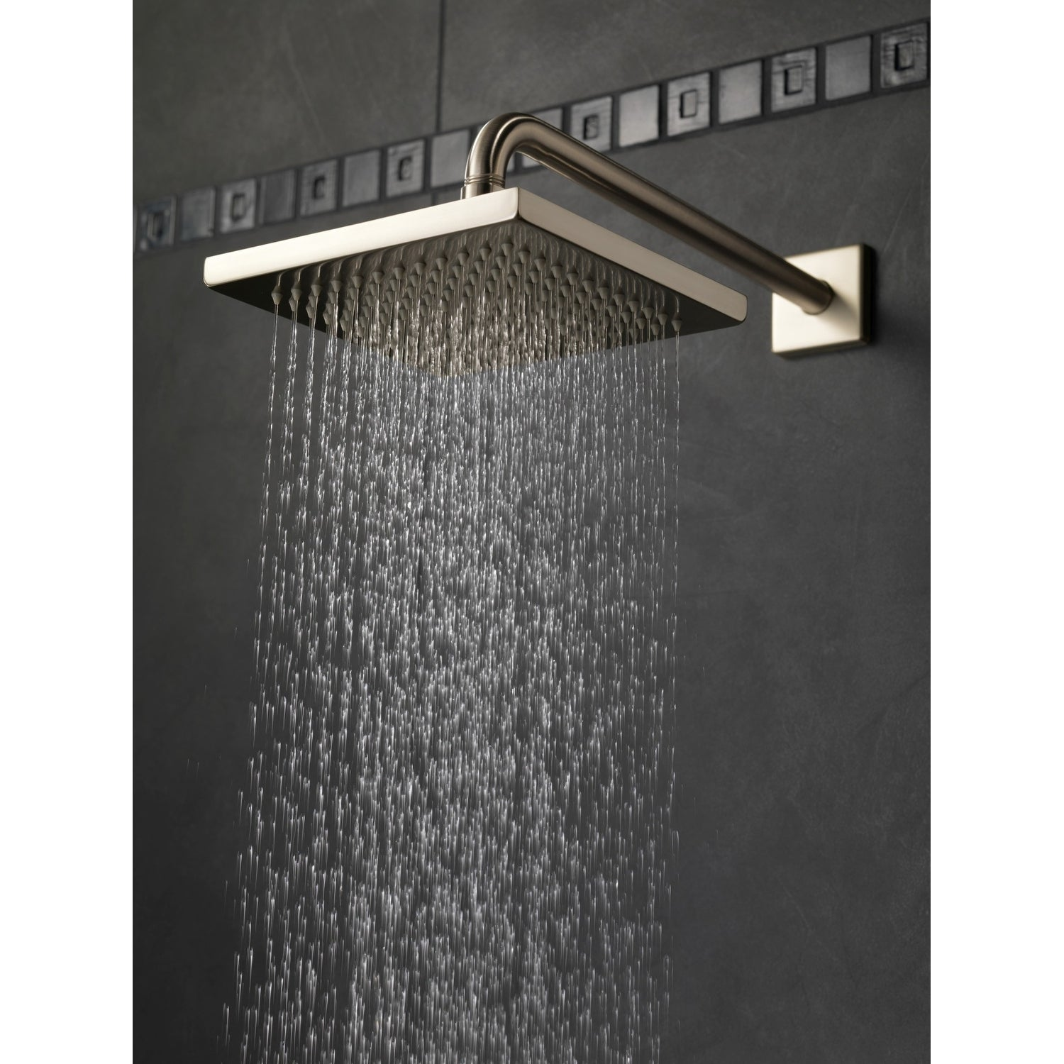 Delta 57740 2 5 Gpm Arzo 8 Wide Rain Shower Head With Shower Arm Flange And Touch Clean Technology