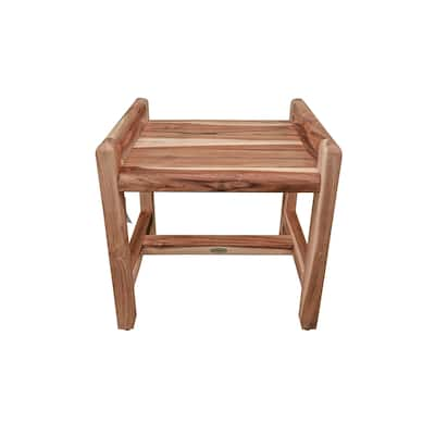 """EcoDecors Eleganto 18"""" Solid Teak Shower Bench With LiftAide Arms - EarthyTeak Finish"""