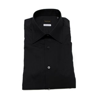 Valentino Men's Slim Fit Cotton Dress Shirt Black-Pinstripe-Black