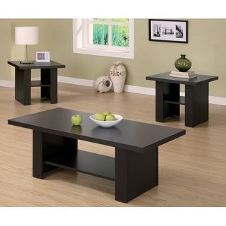 Monarch Specialties 3 piece occasional table set I 3 Piece Table Set with Coffee Table and Side Tables - Cappuccino