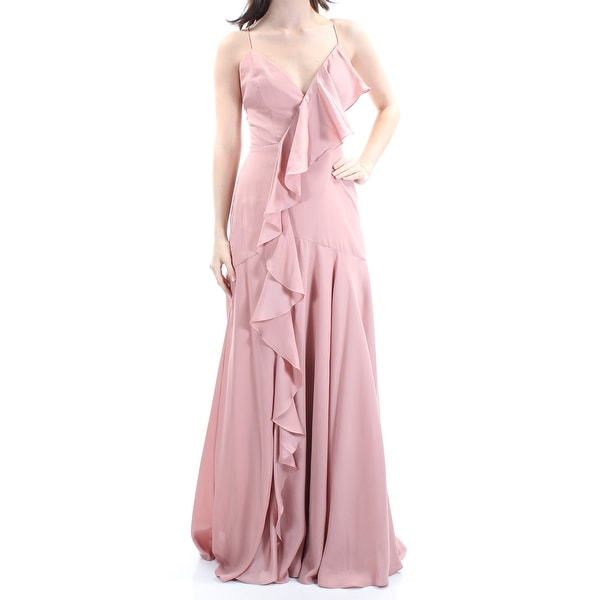 FAME AND PARTNERS Womens Pink Ruffled Low Back Lace-up Spaghetti Strap V Neck Full Length Trapeze Prom Dress Size: 4
