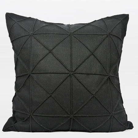 """G Home Collection Luxury Black Textured Checkered Pattern Wool Pillow 20""""X20"""""""