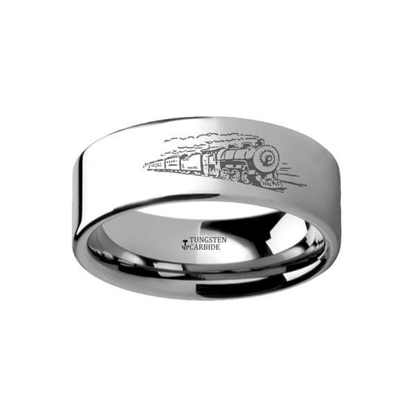 THORSTEN - Train Conductor Railroad Landscape Ring Engraved Flat Tungsten Ring - 4mm