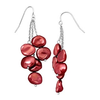 Honora Cherry Keshi Cultured Pearl Cascade Drop Earrings in Sterling Silver - Red