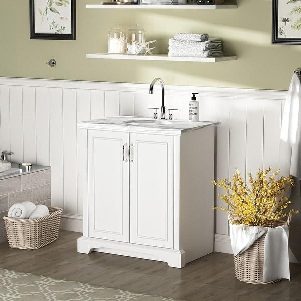 Single Bathroom Vanity With Two-Door Cabinet. Opens flyout.
