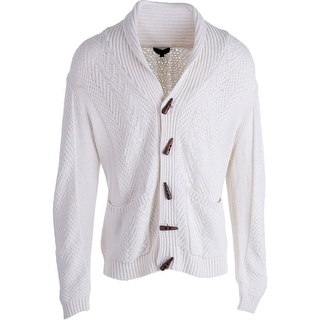 QUINN Mens Cable Knit Long Sleeves Cardigan Sweater - L