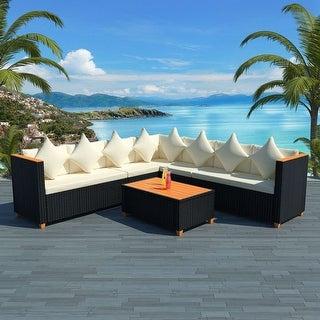 "vidaXL 5 Piece Garden Lounge Set with Cushions Poly Rattan Black - 45"" x 23.6"" x 27.6"""