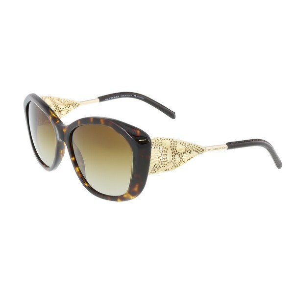 927b4e3a522 Shop Burberry BE4208Q 3002T5 Dark Havana Oval Sunglasses - 57-16-135 ...