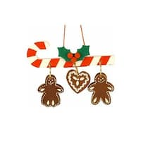 Christian icht Ornament - Candy Cane with Hanging Gingerbread