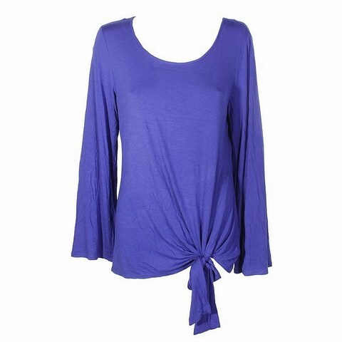 NY Collection Purple Women's Size Medium M Side-Tie Knit Top