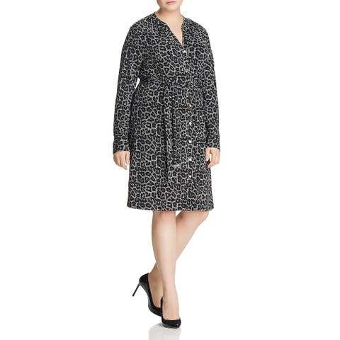 Michael Kors Womens Plus Wear to Work Dress Button Front Animal Print
