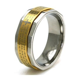 Two Tone Stainless Steel Lord's Prayer Spinner Ring