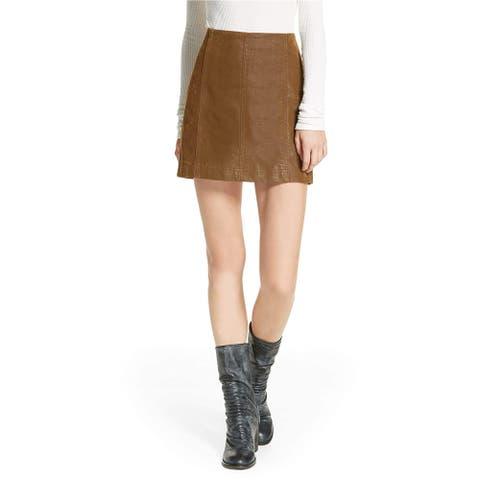 Free People Womens Femme Vegan Mini Skirt
