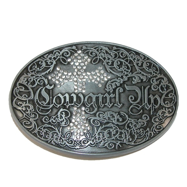 CTM® Women's Cowgirl Up Belt Buckle with Rhinestone Cross - One size