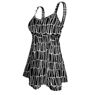 Double Strap Lingerie Swimdress in an all-over Black & White Abstract