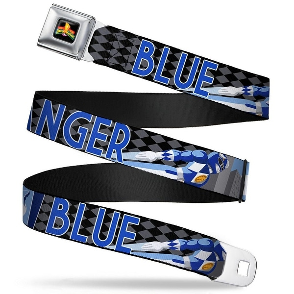 Power Rangers Logo Full Color Blue Ranger Flying Pose Diamonds Black Gray Seatbelt Belt