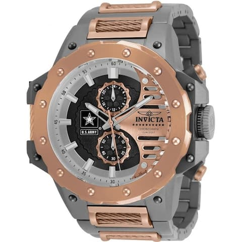 Invicta Men's 32989 'U.S. Army' Rose-Tone and Silver Polyurethane and Stainless Steel Watch
