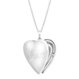 'Mom' Heart Locket Pendant in Sterling Silver