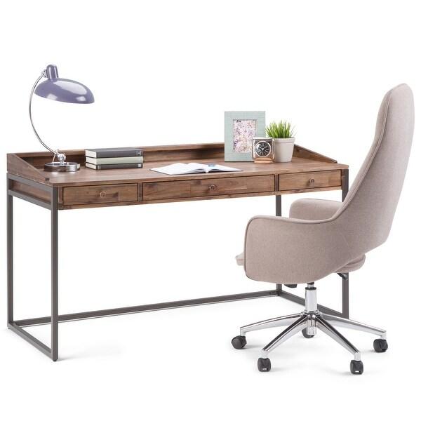 WYNDENHALL Brinkley SOLID ACACIA WOOD Modern Industrial 60 inch Wide Writing Office Desk. Opens flyout.