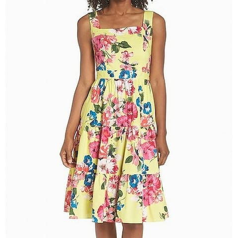 Eliza J Womens Yellow Size 10 Square-Neck Floral Print A-Line Dress
