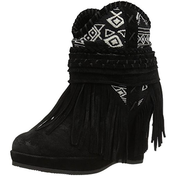 Naughty Monkey Womens Canyon Dream Booties Suede Fringe