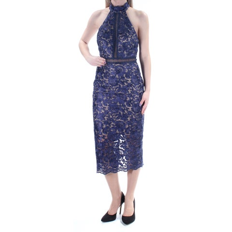 XSCAPE $209 Womens New 1177 Navy Embroidered Lace Low Back Body Con Dress 2 B+B
