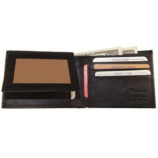 Improving Lifetyles Leather Bifold Wallet FIXED Flip Up WindowID Black SUN1203BK