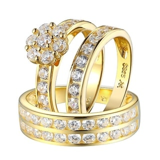 Sterling Silver Trio Set Ring Wedding Engagement Mens Womens Flower Design New - Yellow