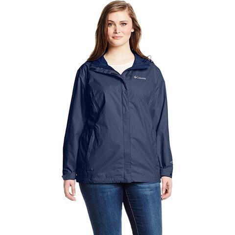 Columbia Women's Arcadia II Waterproof Breathable Jacket With Hood, Navy, Large