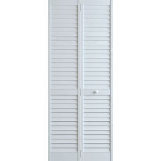 "Frameport PLA-BI-NL-8X2-1/2-H  Plantation 30"" by 96"" Louver/Louver Interior Bifold Door with Installation Hardware - White"