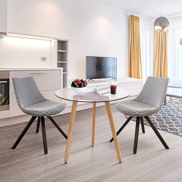 Shop Modern Dining Table Round Glass Coffee Table Small Kitchen Table For Small Spaces Dining Room Living Room 31 5 L X 31 5 W Overstock 31969951