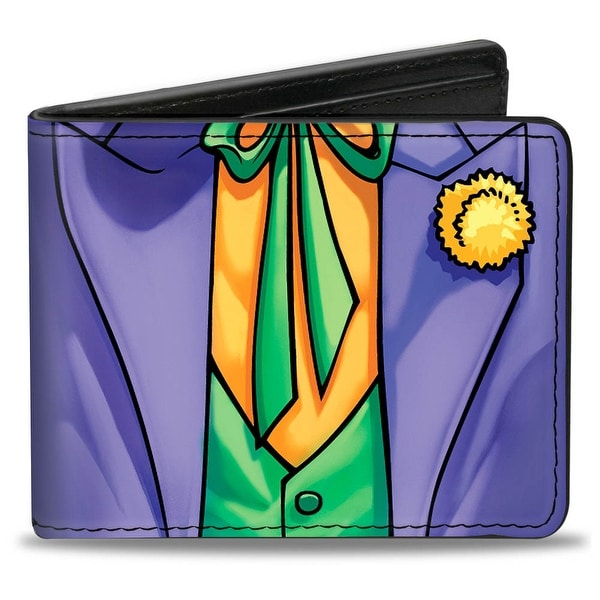 Joker Suit Chest Purple Green Orange Bi Fold Wallet - One Size Fits most