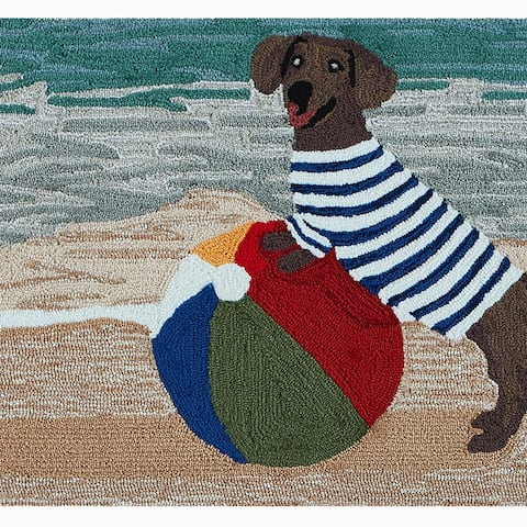 Liora Manne Frontporch Coastal Dog Indoor/Outdoor Rug Ocean