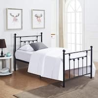 VECELO Bed Frames Twin Size Victorian Metal  Platform Bed,Box Spring Replacement with Headboard Victorian Style