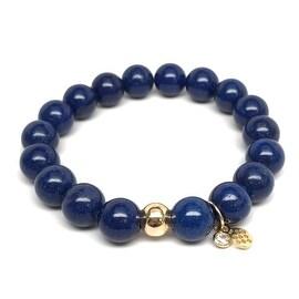 Blue Jade 'Emma' Stretch Bracelet, 14k over Sterling Silver