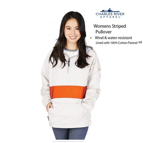 Charles River Apparel Women's Striped Pullover, White/Orange