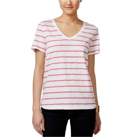 Tommy Hilfiger Womens Striped V Graphic T-Shirt