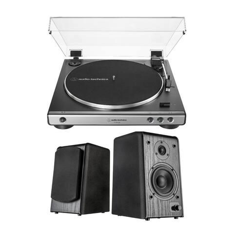 Audio-Technica AT-LP60X USB Turntable (Gunmetal) w/ Microlab Speakers
