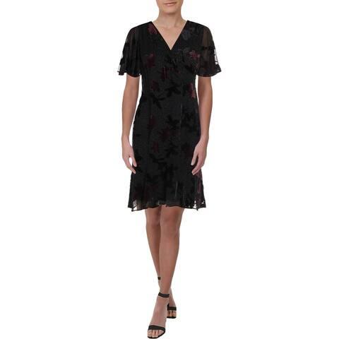 Lauren Ralph Lauren Womens Petites Cocktail Dress Chiffon Burnout