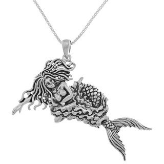 Link to Sterling Silver Moveable Swimming Mermaid Pendant Similar Items in Necklaces