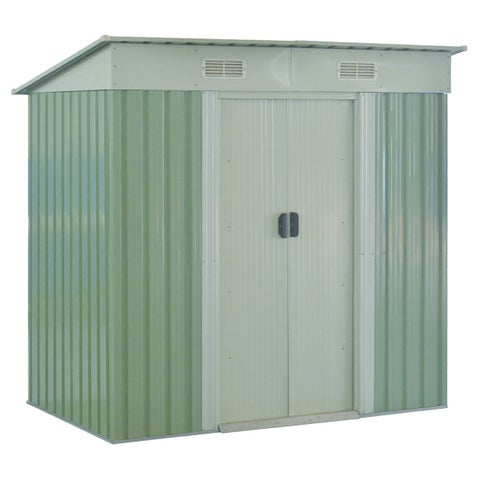 Costway 4x6FT Outdoor Garden Storage Shed Tool House Sliding Door Galvanized Steel Green