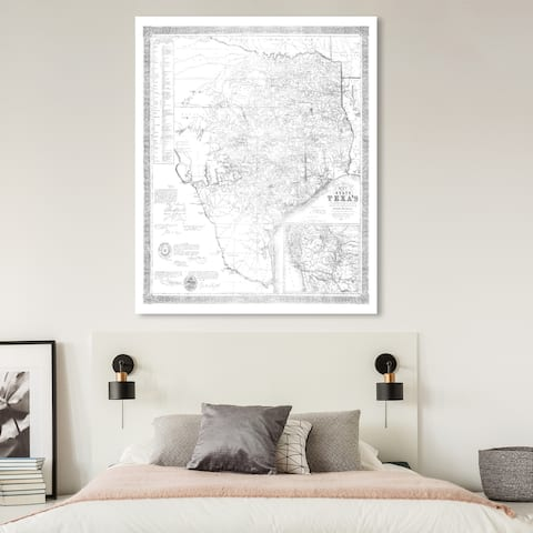 Oliver Gal 'Texas 1856- Silver Metallic' Maps and Flags Wall Art Canvas Print - Gray, White