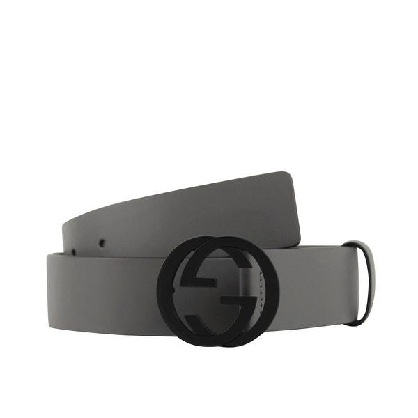 17b80238989 Gucci Men  x27 s Interlocking G Grey Leather Belt with Black Buckle 368186  1226