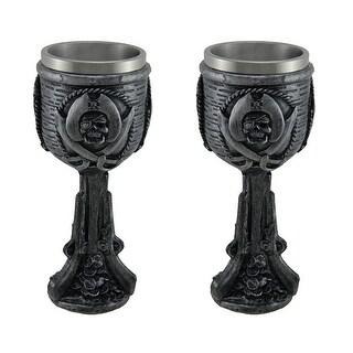 Dark Pewter Finish Pirate Skull Set of 2 Drinking Goblets