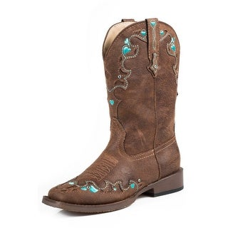 Roper Western Boots Girl Hearts Faux Leather Brown (2 options available)