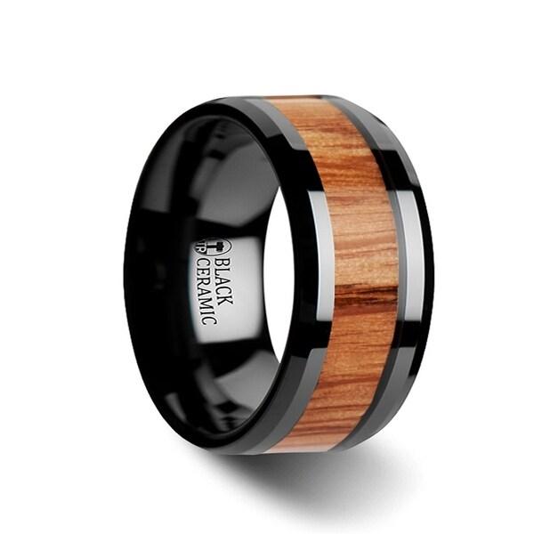 THORSTEN - OBLIVION Red Oak Wood Inlaid Black Ceramic Ring with Bevels - 9mm