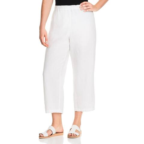 Eileen Fisher Womens Plus Cropped Pants Linen Every Day
