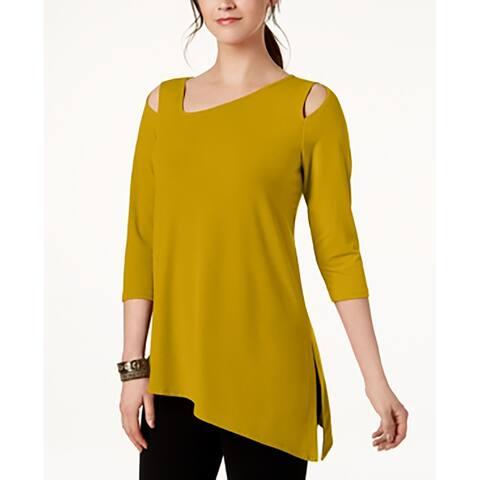 Alfani Women's Cold-Shoulder Asymmetrical Top, Yellow (XL)